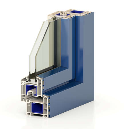 Slice window profile from PVC windiws and doors. Stock Photo