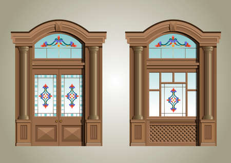 The entrance portal of wood and colour glass. Иллюстрация