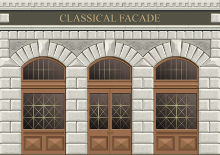 Classical arch of hewn stone in vector graphics.