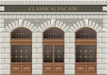 Klassieke boog van gehouwen steen in vector graphics.