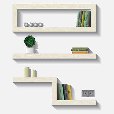 A set of shelves in vector graphics. Иллюстрация