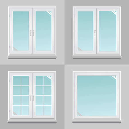 Four pvc windows in the vector graphics.