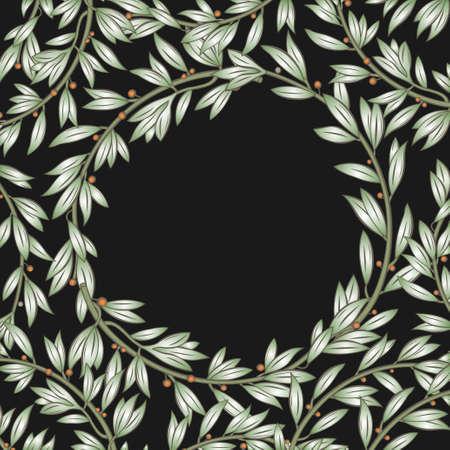 vegetative: Classical frame from vegetative elements in vector graphics. Illustration