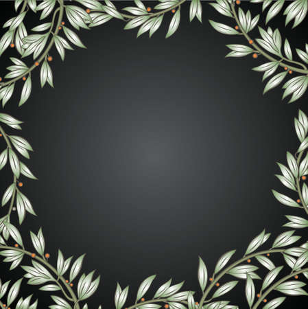 asymmetry: Classical frame from vegetative elements in vector graphics. Illustration