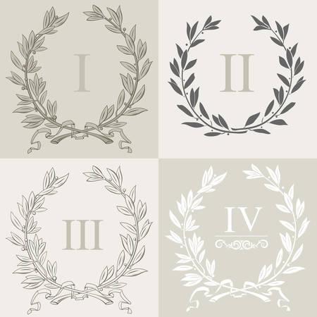 Set of laurel wreaths in vector graphics.