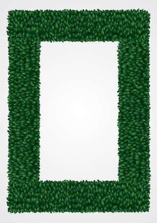 fence park: Frame of green leaves in vector graphics.