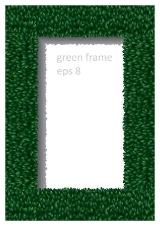 Frame of green leaves in vector graphics.