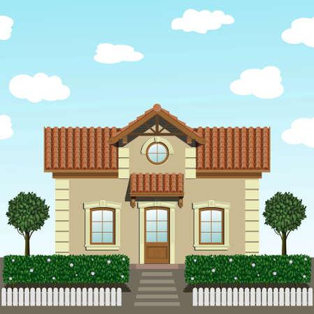Petite maison avec des arbres dans les graphiques vectoriels ..