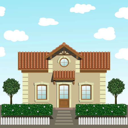 small house: Small house with trees in vector graphics..