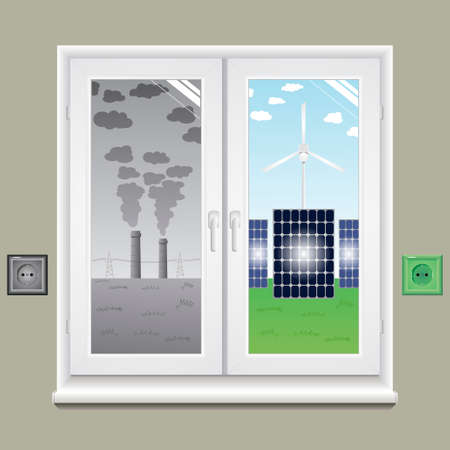 solar collector: Window with different views in vector graphics. Illustration