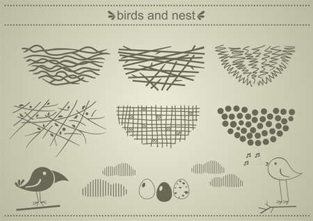 A set of silhouettes of birds nests in vector graphics.