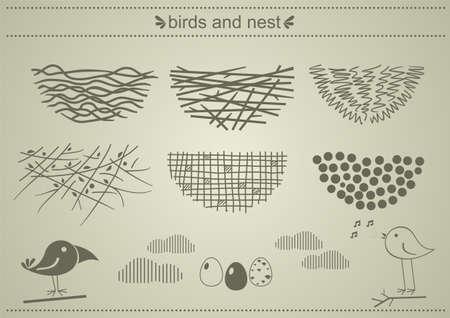 nido de pajaros: Un conjunto de siluetas de los nidos de p�jaros en gr�ficos vectoriales.