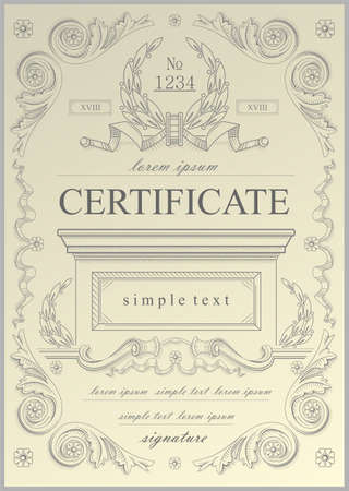 example: Example of vintage certificate vector  in vector graphics.
