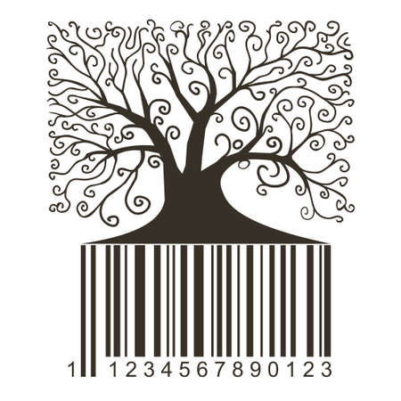 barcodes: Silhouette of a tree in vector graphics.