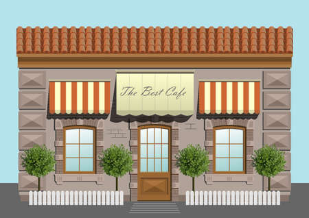 awnings: Facade cafe or shop in vector graphics.