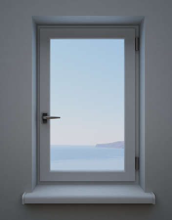 view window: Window PVC in the interior with the distant landscape and a beautiful view Stock Photo