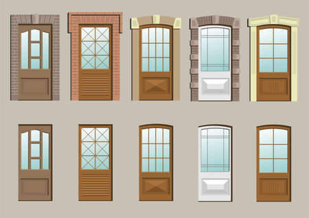 Wooden doors in the wall in vector graphics. 일러스트