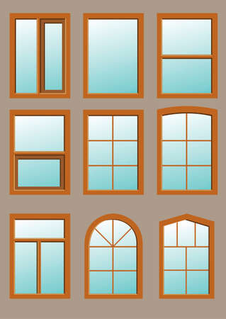 exterior architectural details: Wooden window in the wall in vector graphics.
