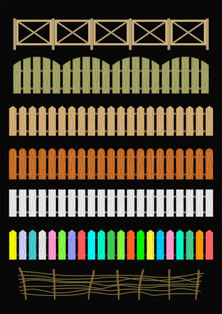 dyeing: Set of different  original fences  in vector graphics. Illustration