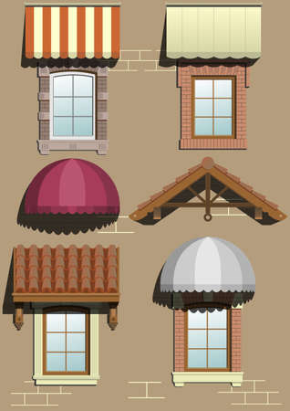 awnings: Set of different shelters for the facade in vector graphics. Illustration
