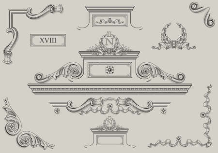 classicism: Vintage prints of architectural details in vector. Illustration