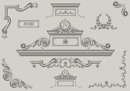 details: Vintage prints of architectural details in vector. Illustration