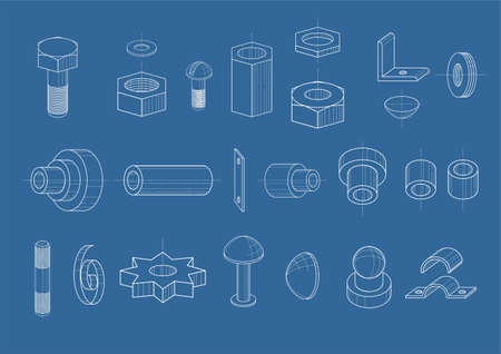 Set of drawings of different components in the vector