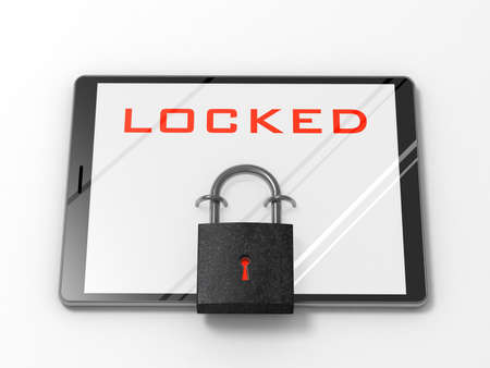 locked up: Tablet computer locked up on iron lock