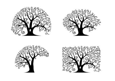 circular silhouette: Silhouettes of different trees silhouettes of trees