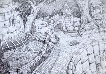 Pencil drawing of an ruin of old castle
