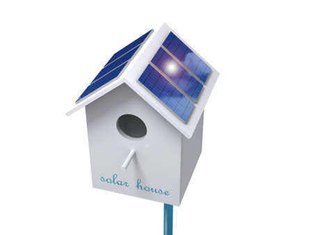 birdhouse: Birdhouse with solar panels for charging gadgets. Stock Photo
