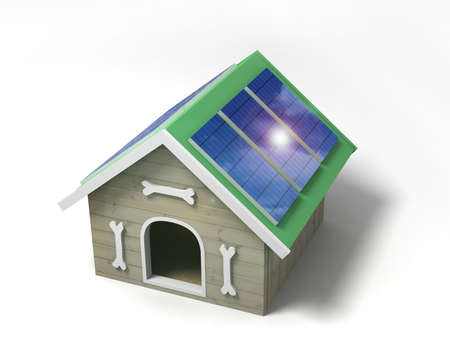 doghouse: Doghouse with solar panels for charging gadgets.