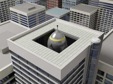 urbanism: Rocket launcher hidden in the building of the skyscraper.