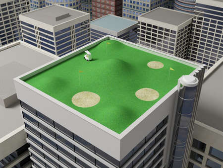 urbanism: Golf playground on the green roof of a skyscraper. Stock Photo