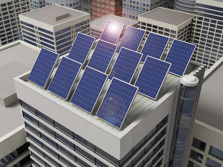 solar panel roof: Solar panels on the roof of a skyscraper. Stock Photo