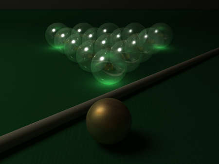 Billiard balls made of glass in the night