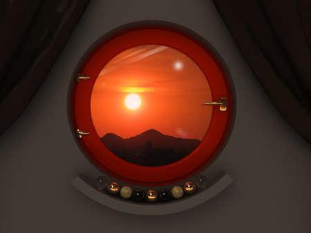 dark interior: Round red window in the dark interior.