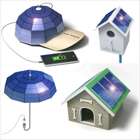 photons: A set of conceptual things with the placement of solar panels.