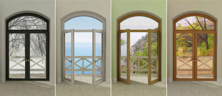 double glazing: Four multi-colored windows with access to the different seasons. Stock Photo