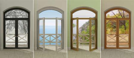 Vier veelkleurige ramen met toegang tot de verschillende seizoenen.