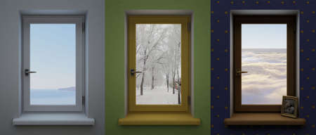 Three windows in the interior of different colors with different landscapes. Archivio Fotografico