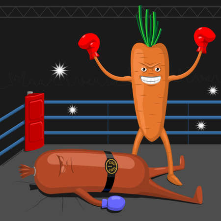 boksring: Carrot in the boxing ring winning sausage in a fair fight.