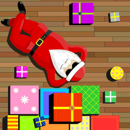 lie down: Santa Claus resting on the floor of the apartment surrounded by gift boxes.