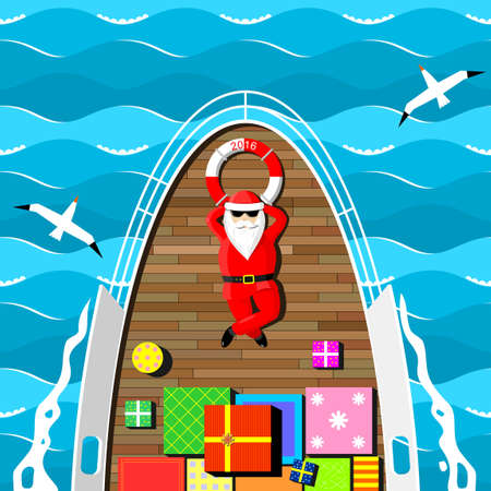 Santa Claus carries gifts lying on the deck of the yacht at sea.