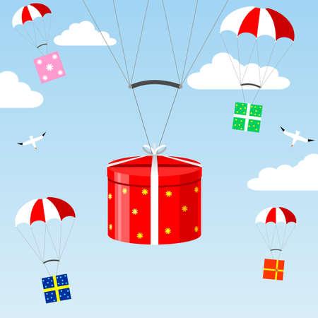 fallschirm: Geschenke vom Himmel fallen auf Fallschirme in den Wolken und Vögel.