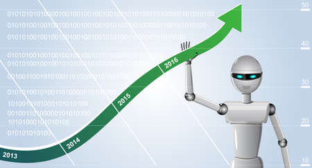 android robot: Android Robot lifting arrow graph growth against the background of the information scale.