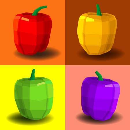 additives: Different types of sweet pepper fruits in different colors.