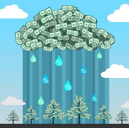 Monetary cloud with rain of interest in the sky and shoots a money tree. Stock Vector - 49151334
