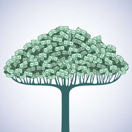 greenback: A tree with leaves of cash exchange greenback. Illustration