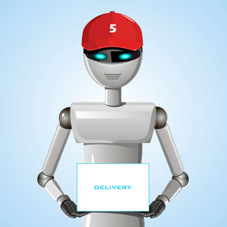 Robot from the service delivery of the goods in the red cap firm.